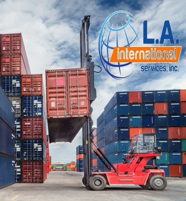 Crane lifter handling container box loading to truck in import export logustic zone